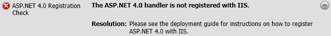 The ASP.NET 4.0 handler is not registered with IIS.